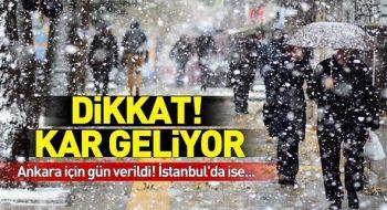 Ankara Ve İstanbul Dikkat! Kar Ve Soğuk Hava Geliyor